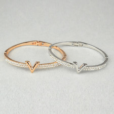 Women Gold/Silver Plated V Letter Crystal Rhinestone Bracelet Bangle Jewelry New
