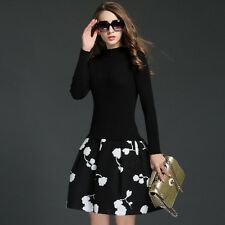 Autumn Winter Women New Black Color Knitted Long Sleeve Thick a Line Dress SQ233