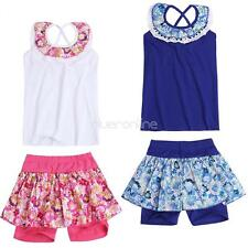 2pcs Summer Toddler Baby Girl Clothes Floral Vest Tops Pantyskirt Outfits Set
