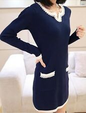 Women Style Autumn And Winter Long Sleeve Knitted Sweater Dress