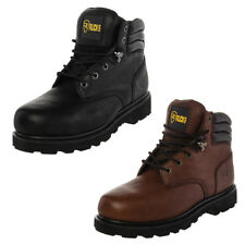 Rucks Men's Steel Toe Safety Work Boots Lace Up Leather Goodyear Slip-Resistant