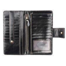 Womens Large Capacity Card Case Checkbook Genuine Leather Long Bifold Wallet