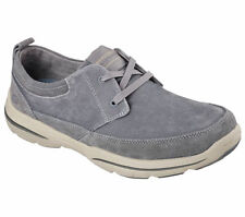 64704 Gray Skechers Shoes Men Memory Foam Relax Casual Canvas Comfort Oxford New