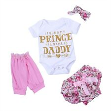 4Pcs Newborn Baby Girl Romper Bodysuit Floral Bloomers Pants Outfit Set Dress