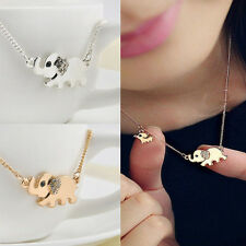 Cute Elephant Family Stroll Pandent Fashion Charming Crystal Chain Necklace TB