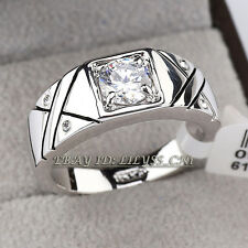 A1-R054 Fashion Rhinestone Men's Band Ring 18KGP CZ Crystal SZ 8,9,10