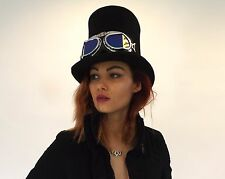 New Steampunk English Victorian Black Quality Wool Tall Top Hat With Goggles
