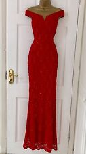 £65 EX QUIZ Red Lace Sequin Bardot Fishtail Maxi Evening Dress 10 12 14 16 18