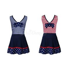 2PCS Kids Girls Tops Skirt Tankini Bikini Set Swimsuit Swimwear Bathing Suits