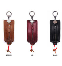New Genuine Leather Couple Car Key Case Bag Zippered Key Wallet Black Brown Red