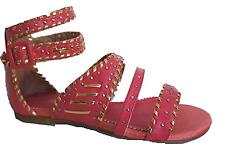 Killah (Miss Sixty) Bright Pink & Gold Gladiator Style Flat Sandals