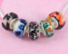 20pcs Resin Big Hole Beads Silver Core Fit European Charm Bracelet R5