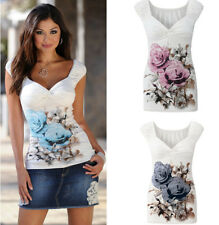 Women Ladies Sleeveless Floral Printed Tops V Neck Vest Shirt Blouse Casual Crop