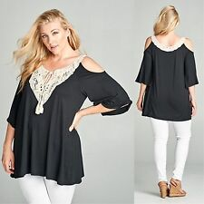 Plus Open Cold Shoulder Crochet Boho Tunic Top Tassel Boho Black 1X 2X 3X