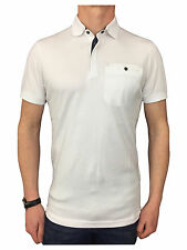 Ted Baker Mens S/S Flat Knit Collar Polo Shirt in White