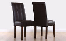 2 4 6 8 Carrick Brown Leather Dining Room Chairs (Dark Wenge Leg)