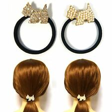 Lovely Faux Pearl Rhinestone Crystal Elastic Hair Tie Ring Band Ponytail Holder