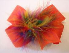 Girl Boutique Hair Bow Marabou Puff Orange Fall Rainbow