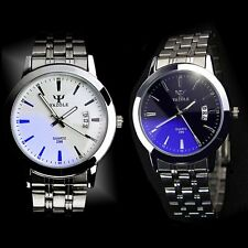 Mens Date Calendar Stainless Steel Strap Quartz Sport Casual Analog Wrist Watch
