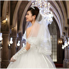 2 Layers White Ivory Lace Sequins Edge Elbow Wedding Dress Bridal Veil With Comb