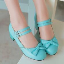 Cute Bowtie Lolita  Mary Janes Ankle Strap Cosplay Womens Block Mid Heels Shoes