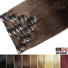 100% Good 7/8pcs Clip in Remy 100% Real Human Hair Extensions Full Head US SK027