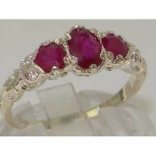 VICTORIAN INSP SOLID ENGLISH STERLING SILVER GENUINE NATURAL RUBY TRILOGY RING