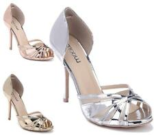 Ladies High Heel Party Strappy Open Toe Bridal Wedding Sandals Shoes Size 3-8