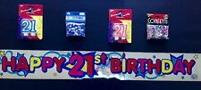 21st Birthday Party Pack Supplies 21 Candle, Banner, Table Scatters Decorations