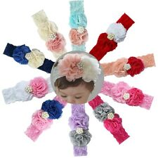 Cute Girl Baby Toddler Kids Pearl Flower Headband Bow Lace Hair Band Accessories