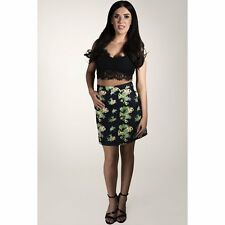 Ladies Women Floral Print A-line Skirt High Waisted Fitted Skirt size 8 10 12 14