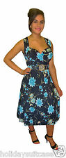 Plus size 12-26 Ladies womans sexy turquoise black floral summer evening dress