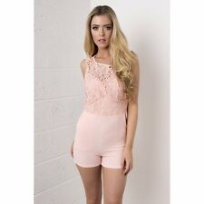 UK Ladies Women Crochet Lace Top Playsuit in Pink size 8 10 12 14