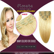 Remy Human Hair Extensions Clip in Extension Straight Full Head 18Clips US Stock
