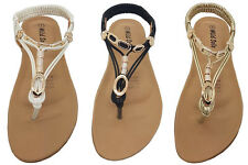 Ladies Shoes Wild Sole Reef Gold White or Black Thong Sandal Flats Size 6-10