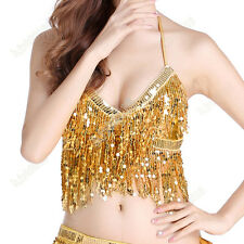 Belly Dance Outfit Halter Top Bra Sequin Fringe Performance Competition Costume