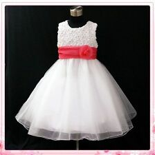 Pinks White Christening Communion Flowers Girls Dresses SIZE 1-2-3-4-5-6-7-8-10T