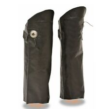 MENS MOTORCYCLE SOFT MILLED LEATHER HALF CHAPS w/ CONCHO & FRINGE ON SIDES -SACH