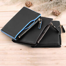 Gents Faux Leather ID credit Card holder Bifold Coin Purse Wallet Pockets HT