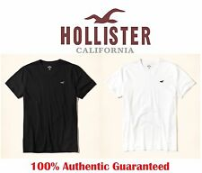 100% AUTHENTIC MENS HOLLISTER BY ABERCROMBIE V-NECK WHITE BLACK NAVY T-SHIRT