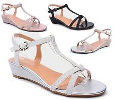 LADIES WOMENS LOW MID WEDGE EVENING PARTY MULES PEEPTOE STRAPPY SANDALS SHOES