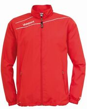Uhlsport Mens Presentation Sports Football Breathable Zip Jacket Top Red White