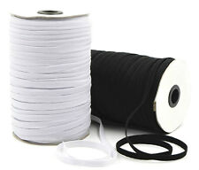 ELASTIC 6 CORD FLAT, 4MM WIDE, AVAILABLE IN BLACK OR WHITE & DIFFERENT LENGTHS