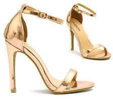 WOMENS STILETTO HIGH HEEL ANKLE STRAP SANDALS LADIES PEEP TOE STRAPPY PARTY SHOE