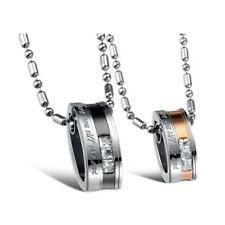 """Men Womens """"Love You Till the End"""" Carved 316L Stainless Steel Pendant Necklace"""