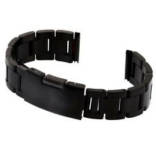 Black Stainless Steel Strap Straight Metal Bracelet Wrist Watch Band 18/20/22mm