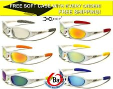 X-Loop Sport Mens Mirrored Sunglasses with Soft Case Cycling Fishing Running