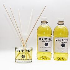 MAJESTIC GLASS BOTTLE + 1.1 Litre Reed Diffuser Oil Refill Fragrances Room Scent