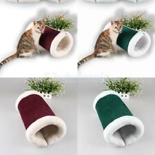 Zipped Collapsible Pet Cat Kitten Play Tunnel Fleece Cat Mat Carpet Squeaky Toy