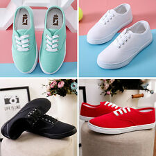 Summer Classic Womens Canvas Lace Up Casual Sneakers Tennis Flats Ladies Shoes